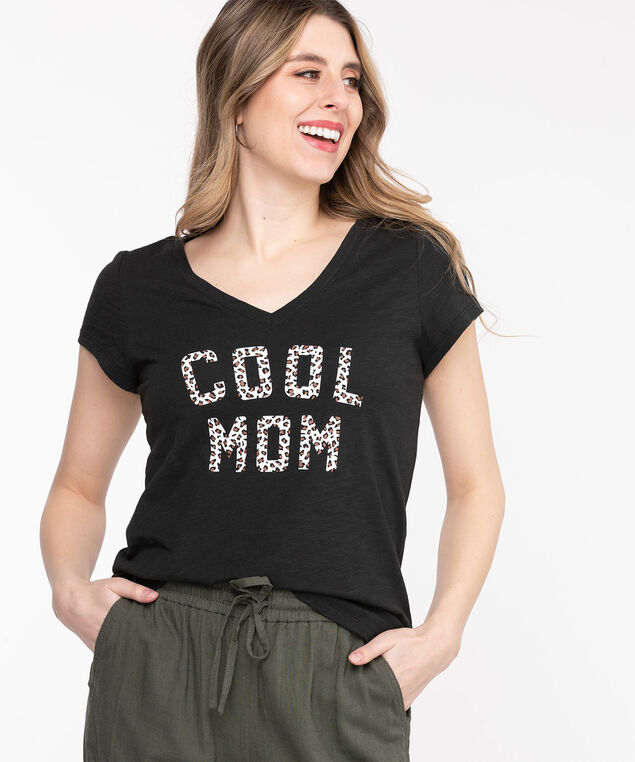 V-Neck Graphic Tee, Black/Leopard Cool Mom