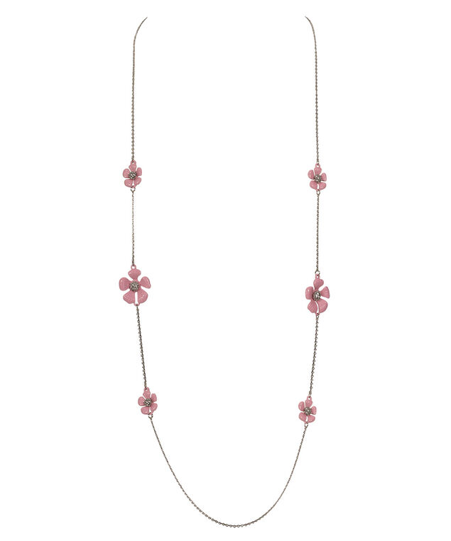 Long Stationed Flower Necklace, Pale Pink/Rhodium, hi-res