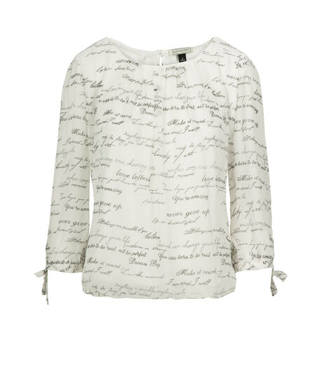 Pleat Front Bubble Hem Blouse, Ivory/Black, hi-res