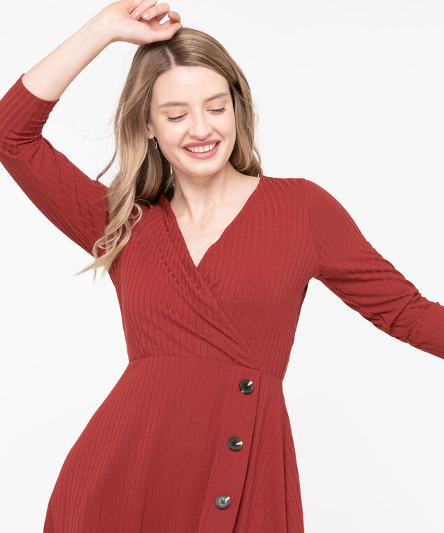 Ribbed Button Trim Wrap Dress, Rust, hi-res
