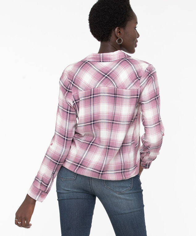 Button Front Drawstring Blouse, Pink/Ivory Plaid, hi-res