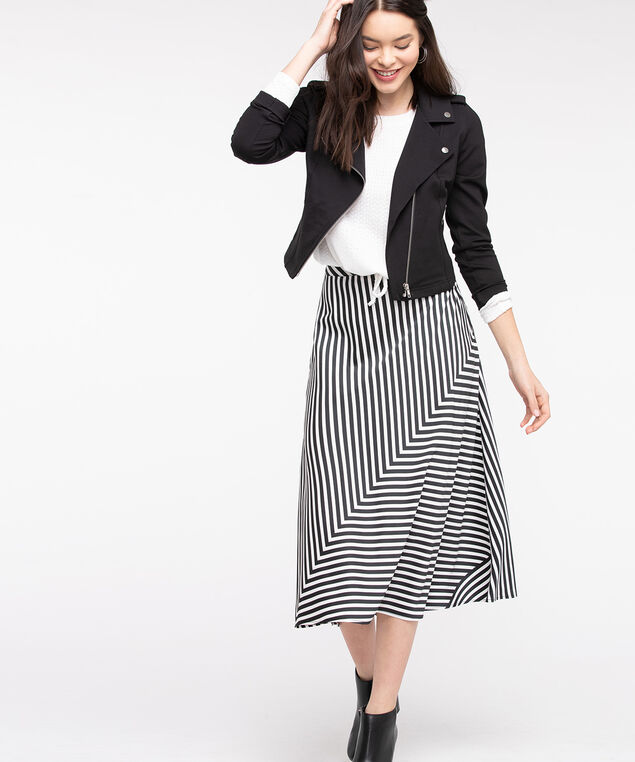 Black & White Midi Skirt, Black/White