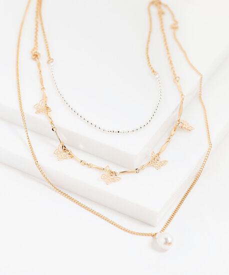 Butterfly & Pearl Layered Necklace, Gold, hi-res