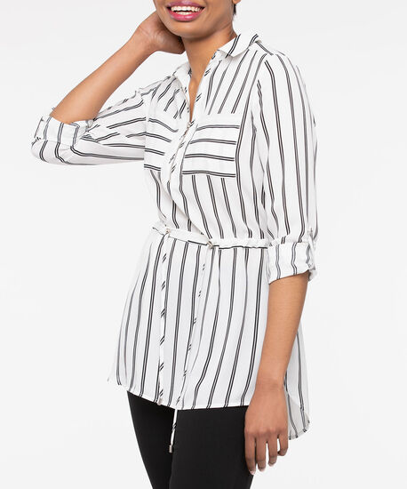 Striped Zip Front Tunic Blouse, Pearl/Black, hi-res