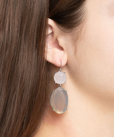 Faceted Stone Drop Earring, Pearl/Rhodium, hi-res