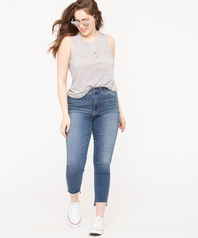 Sleeveless Henley Knit Top, Mid Heather Grey, hi-res