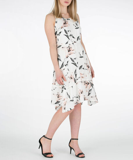 Ric-Rac Trim Sharkbite Hem Dress, Pearl/Black/Coral, hi-res