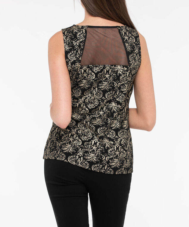 Sleeveless Illusion Neck Top, Black/Gold, hi-res