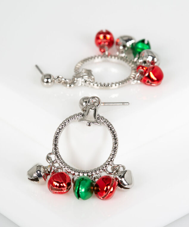 Jingle Bells Earring, Rhodium/Pearl/Crimson, hi-res