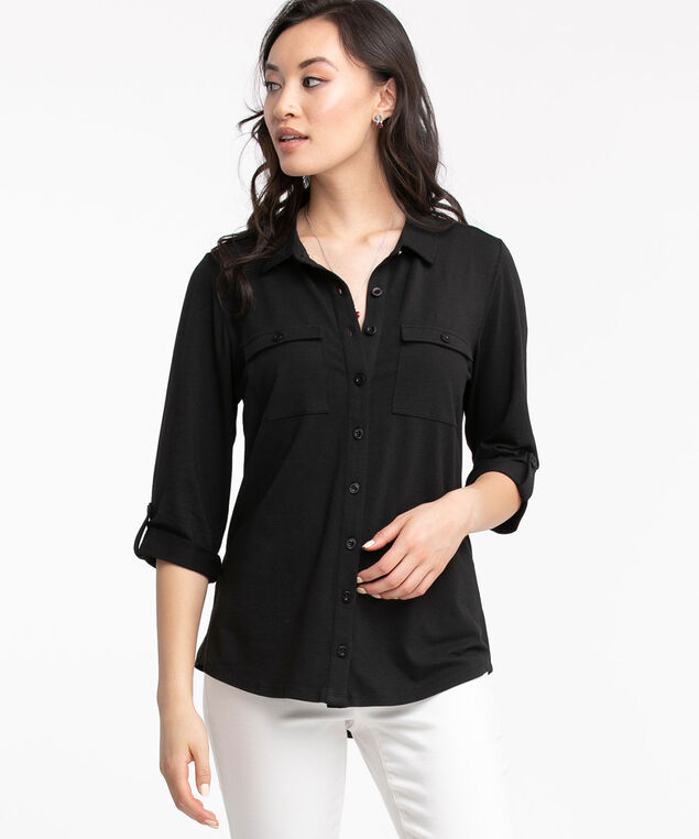 Knit Collared Button Front Shirt, Black