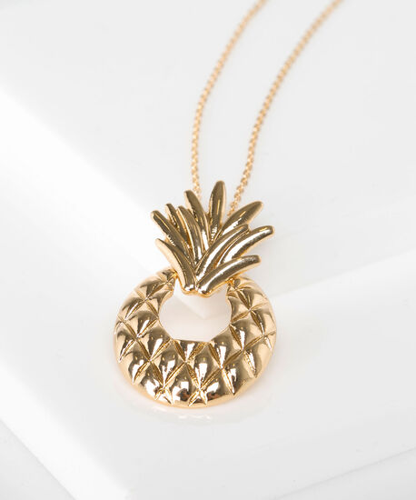 Pineapple Pendant Necklace, Gold, hi-res