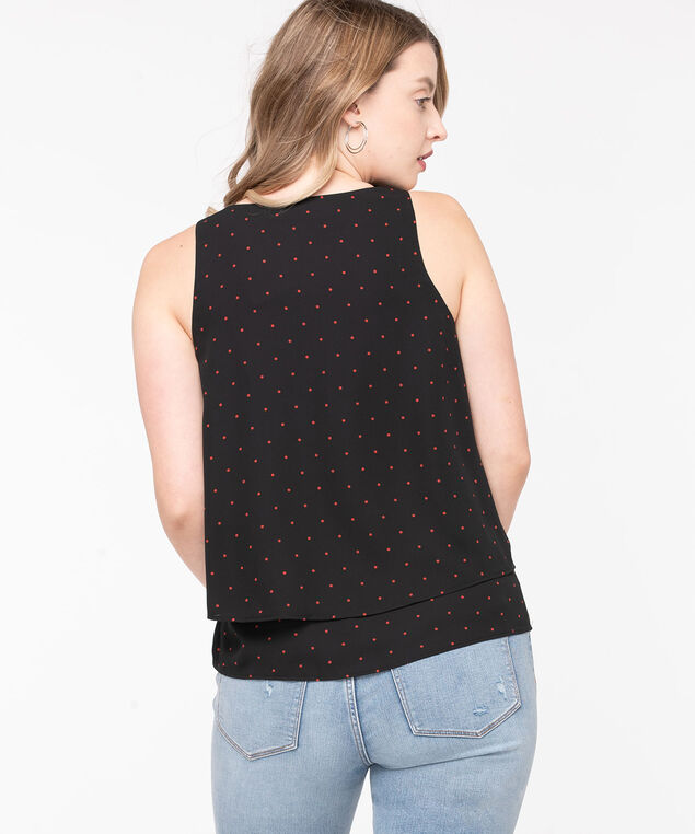 Sleeveless Layered V-Neck Blouse, Black/Rust Dot, hi-res