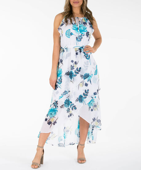 Ruffle Trim High-Low Maxi Dress, Pearl/Blue/Soft Yellow, hi-res