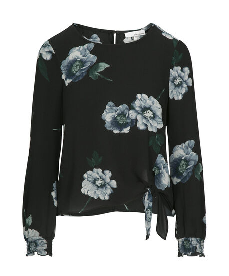 Floral Side-Tie Blouse, Black/Blue, hi-res