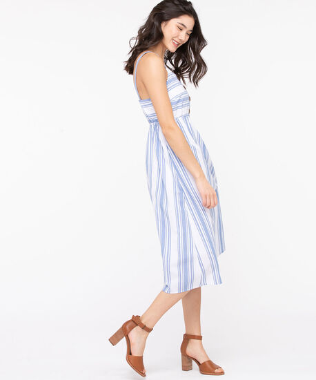 Striped Button Front Smocked Dress, Light Blue/Pearl, hi-res