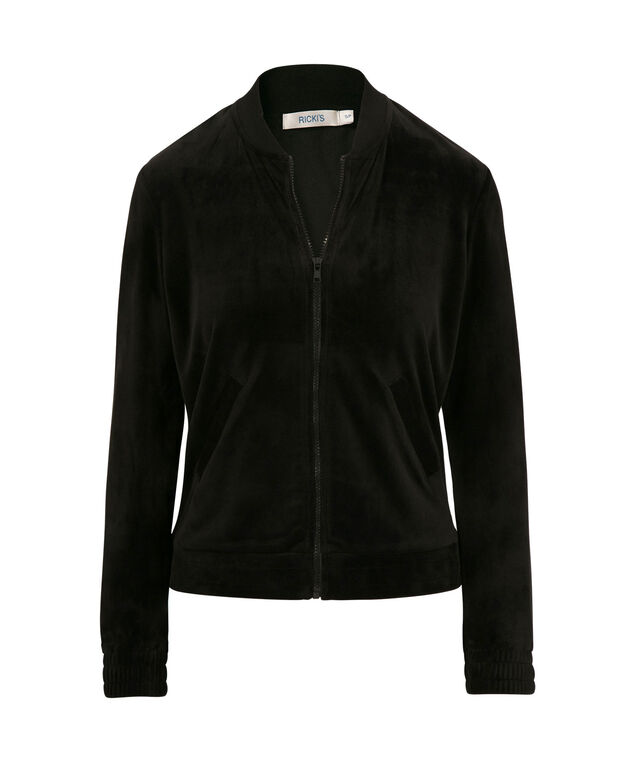 Velour Bomber Jacket, Black, hi-res