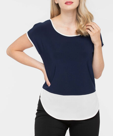 Short Sleeve Colourblock Fooler Top, Navy/Pearl, hi-res