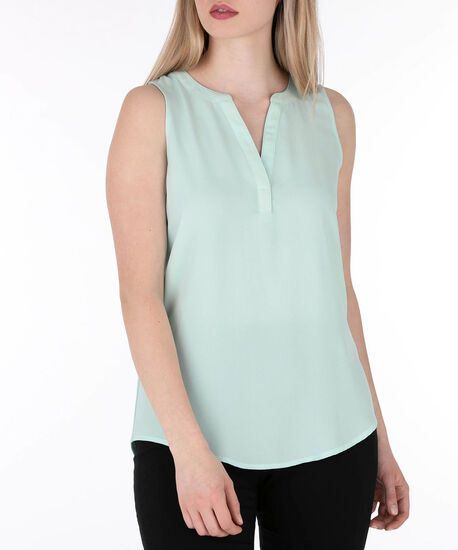 Sleeveless Henley Top, Light Aqua, hi-res