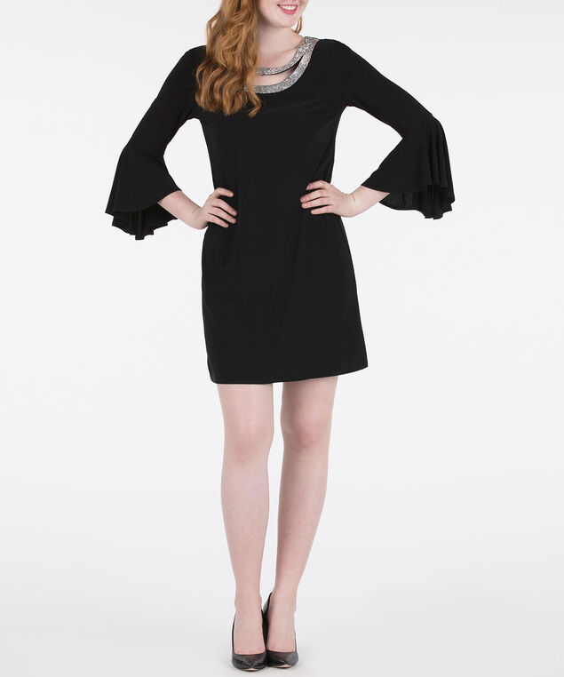 Crystal Trim Flounce Sleeve Dress, Black, hi-res