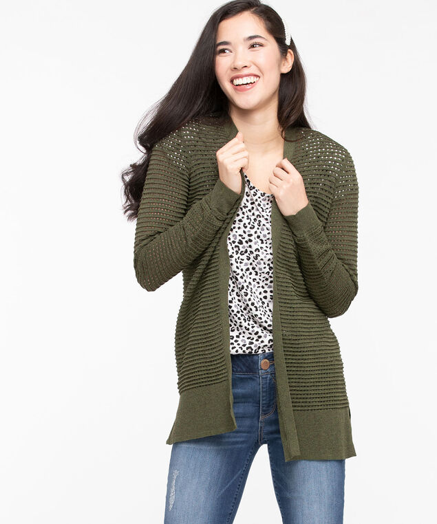 Pointelle Open Cardigan, Moss, hi-res