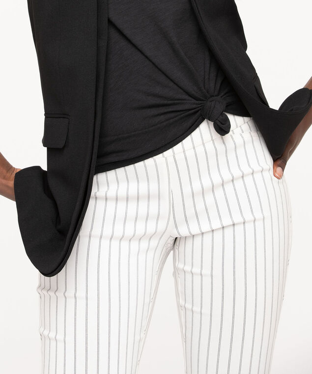 Pinstripe Pull On Crop Pant, Pearl/Black, hi-res