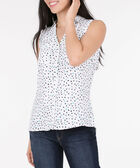 Sleeveless Collared Button-Down Blouse, White/Black/Teal, hi-res