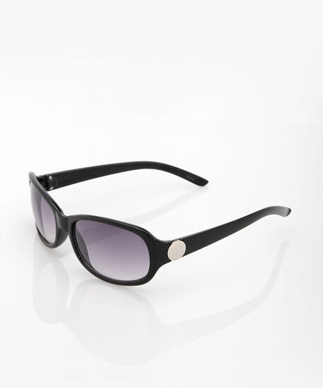 Mid Size Oval Sunglasses, Black, hi-res