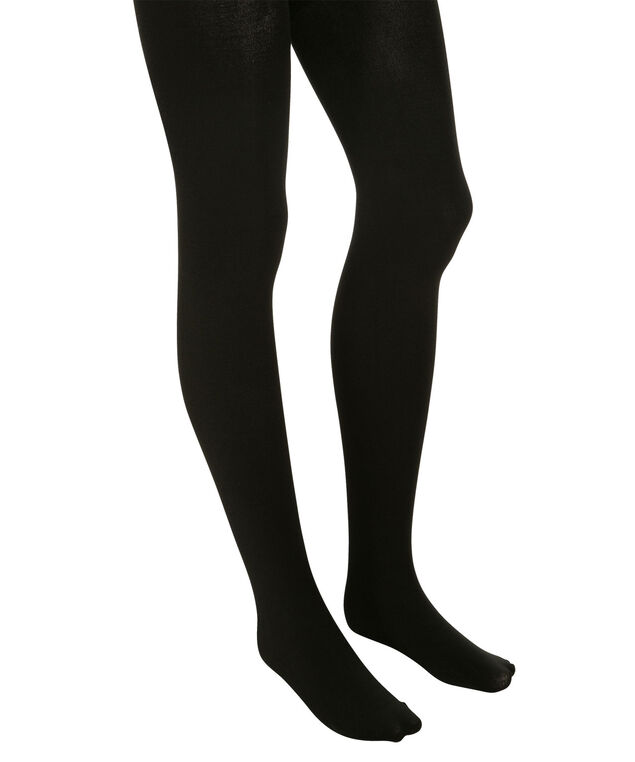 Basic Plush Footed Tights, Black, hi-res