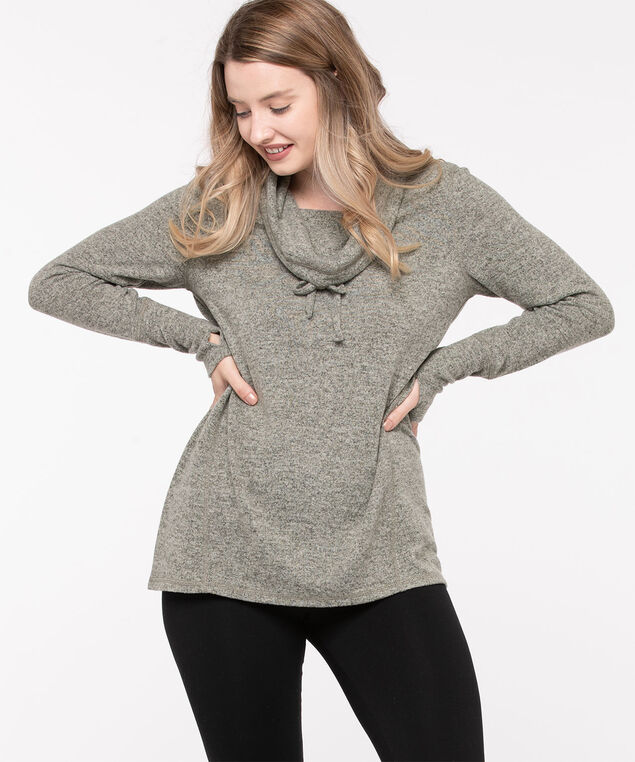 Cozy Cowl Neck Tunic Top, Light Grey Mix, hi-res