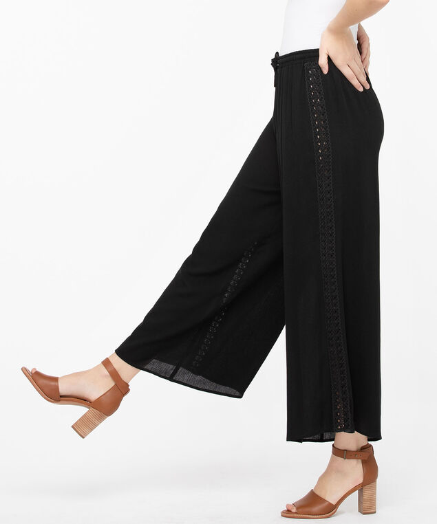 Pointelle Trim Cover Up Pant, Black, hi-res