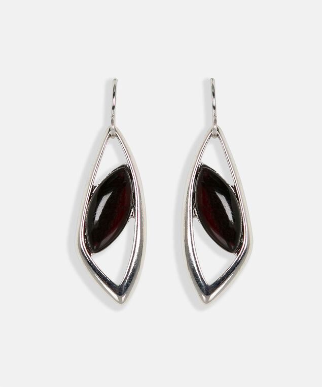 Leaf Frame Cateye Earring, Black/Rhodium, hi-res