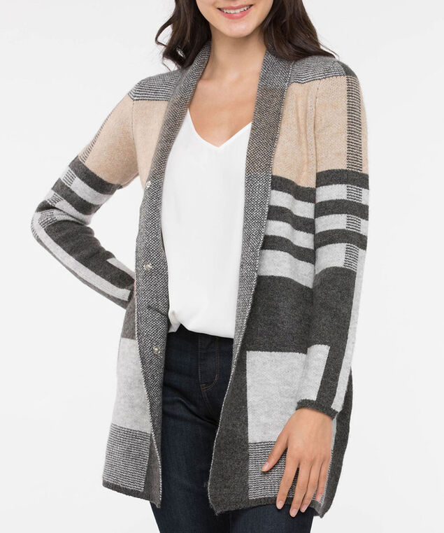Colourblock Snap Button Front Cardigan, Camel/Mid Heather Grey/Light Heather Gre, hi-res