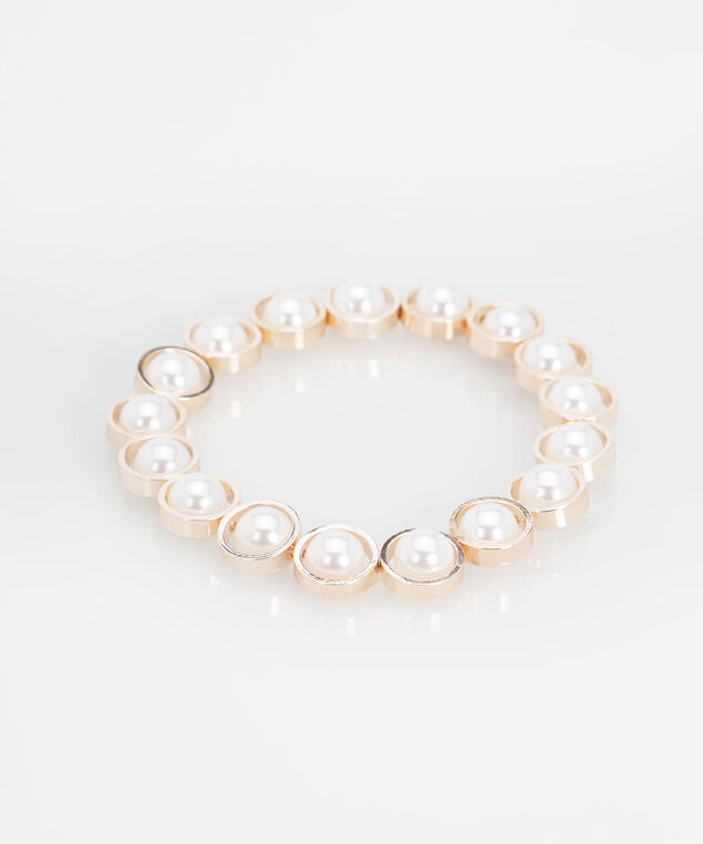 Pearl & Ring Stretch Bracelet, Pearl/Rose Gold, hi-res