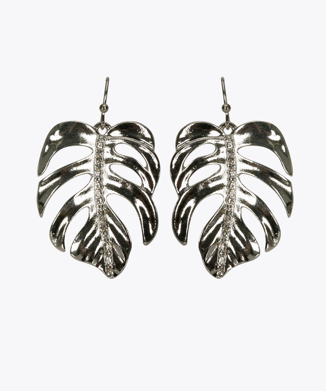 Palm Leaf & Crystal Drop Earring, Rhodium, hi-res