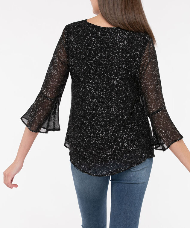 Flounce Sleeve V-Neck Blouse, Black/Pearl/Silver, hi-res