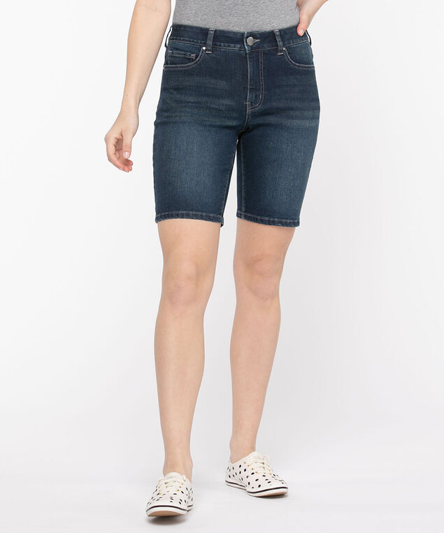 Rinse Wash Denim Bermuda Short, Dark Wash