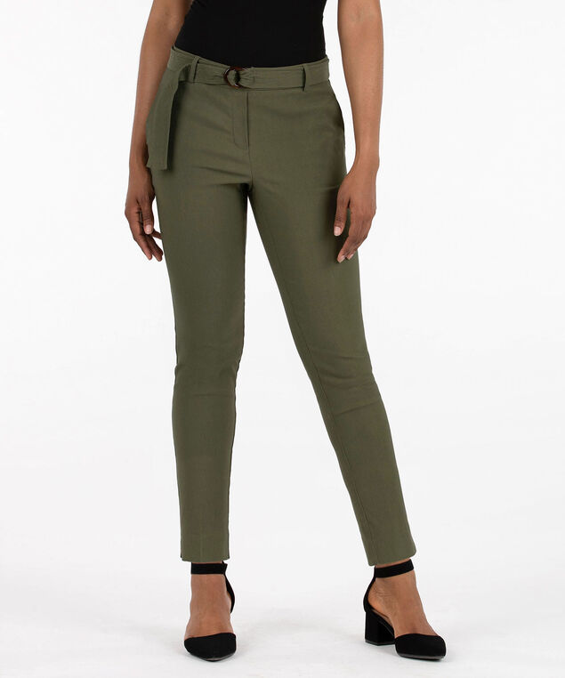 Belted Pull On Slim Ankle Pant, Autumn Olive, hi-res