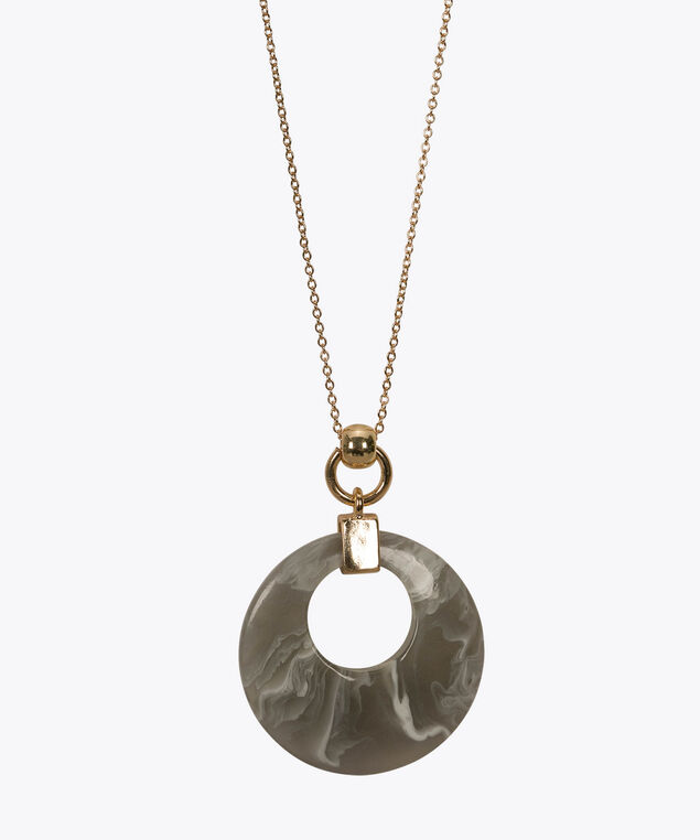 Resin Disc Pendant Necklace, Grey/Soft Gold, hi-res