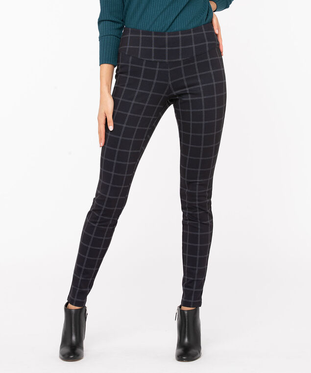 Windowpane Luxe Ponte Legging, Black/Grey