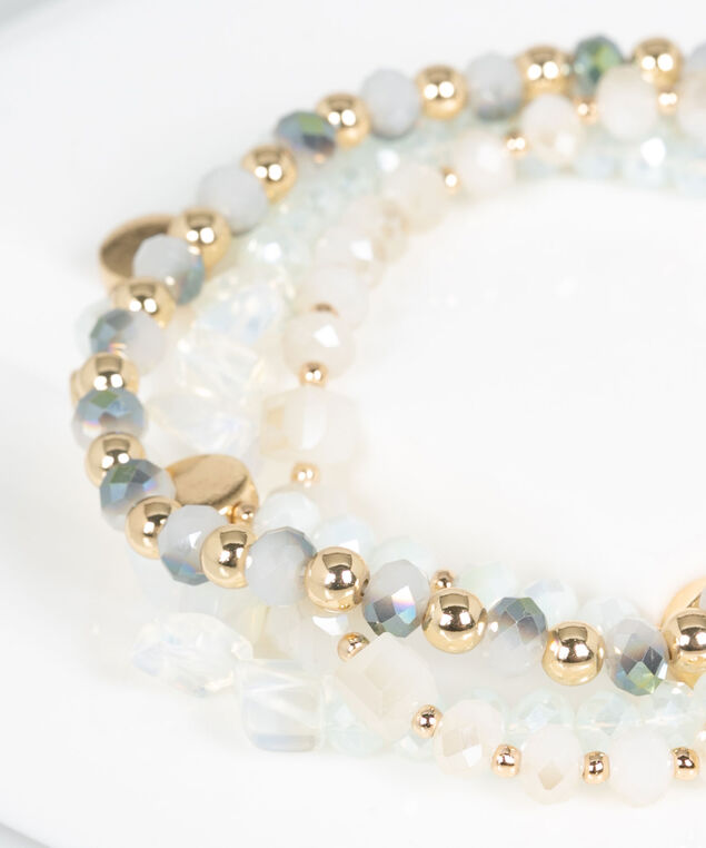 Multi Row Beaded Bracelet, Pearl/Gold, hi-res