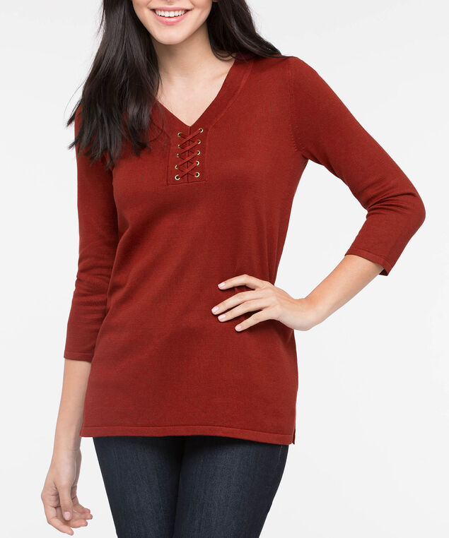 Lace Up Detail V-Neck Sweater, Rust, hi-res