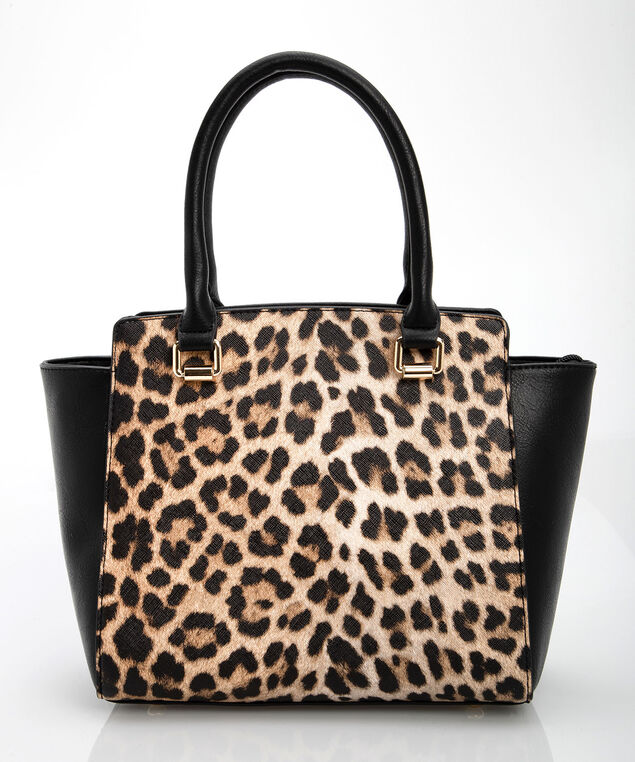 Leopard Print Satchel, Black/Gold/Almond, hi-res