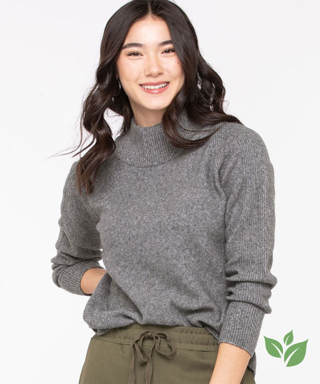 Eco-Friendly Mock Neck Sweater, Mid Grey, hi-res