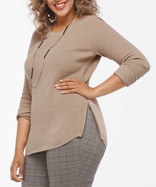 Scoop Neck Zipper Detail Sweater, Camel, hi-res