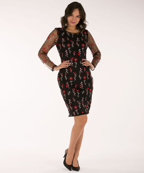 Embroidered Overlay Sheath Dress, Black/Cherry/Pink, hi-res