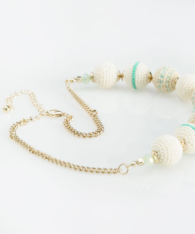 Beaded Ball Statement Necklace, Gold/Tropical Teal/Aqua, hi-res