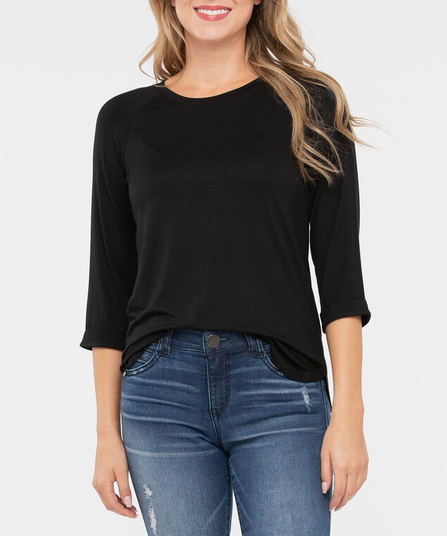 3/4 Raglan Sleeve Knit Top, Black, hi-res