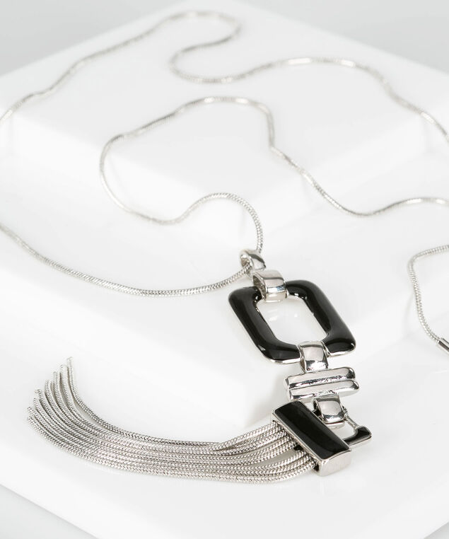 Epoxy Square & Tassel Necklace, Black/Rhodium, hi-res
