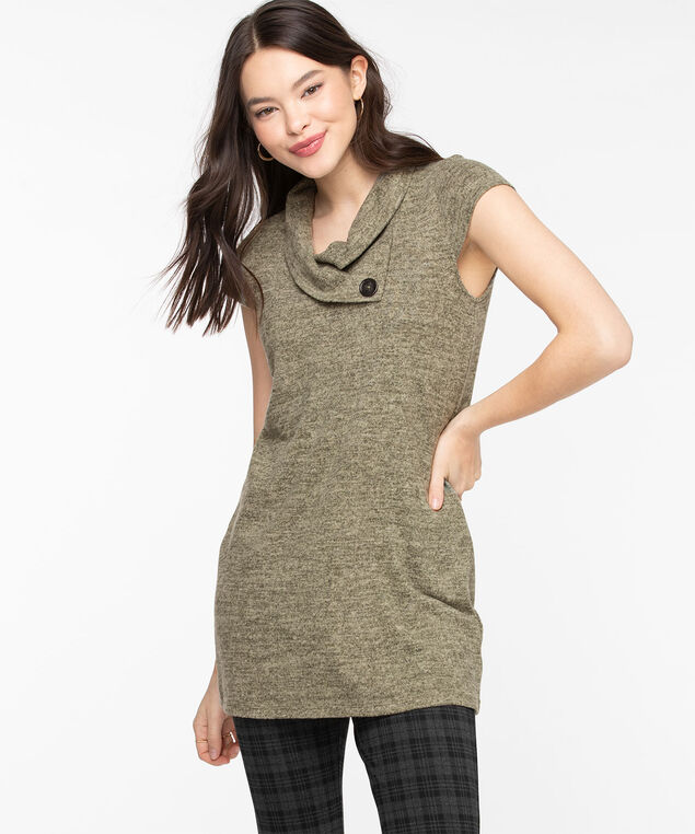 Split Neck Lightweight Knit Tunic, Four Leaf Clover