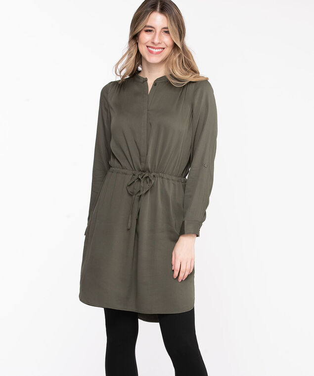 Roll Tab Sleeve Shirt Dress, Olive